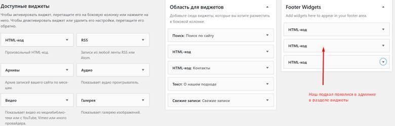 Редактируем подвал WordPress добавляем виджеты