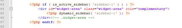 Вставляем код для вызова виджета в нужный файл темы